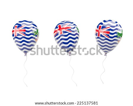 Air balloons with flag of british indian ocean territory isolated on white