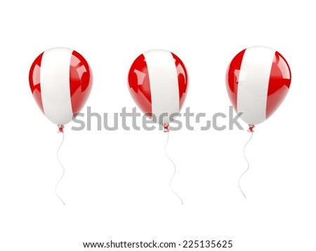 Air balloons with flag of  peru isolated on white - stock photo