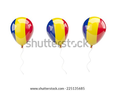 Air balloons with flag of romania isolated on white - stock photo