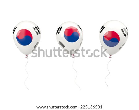 Air balloons with flag of south korea isolated on white - stock photo