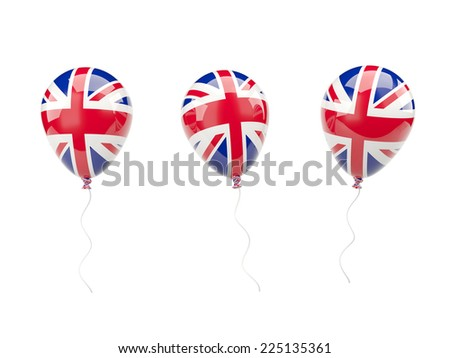 Air balloons with flag of united kingdom isolated on white - stock photo
