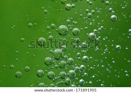 Air bubbles in a liquid. Abstract background. Macro  - stock photo