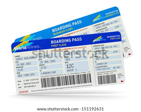 Air business travel transportation concept: group of color airline tickets for first and business economy class travel isolated on white background - stock photo