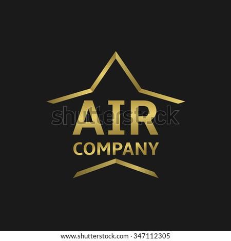 Air company logo. Golden airplane symbol, illustration. Raster illustration - stock photo