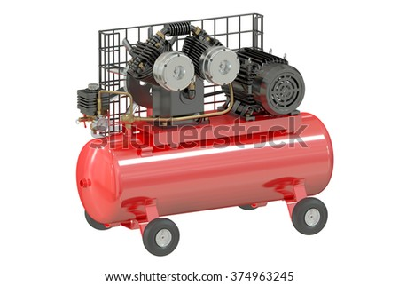 air compressor part names. air compressor isolated on white background part names