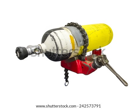 Air compressor tank repair, isolated on white background - stock photo