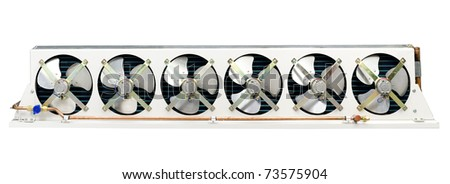 Air condenser unit, air condition cooling systems in a bus - stock photo