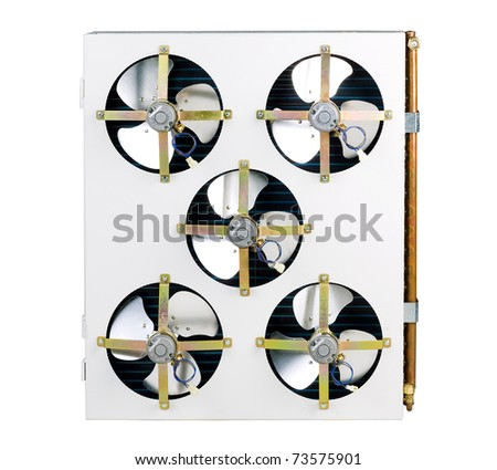 Air condenser unit, air condition cooling systems in a bus the image isolated on white  - stock photo