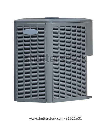 Air conditioner AC out side unit isolated on white - stock photo