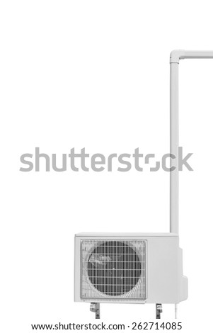 air conditioner compressor isolated on white  - stock photo