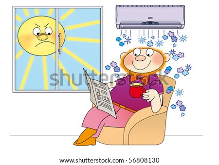 air-conditioner creates a comfortable cool in summer - stock photo