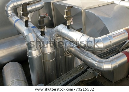 Air conditioner distribution and ventilation within the trade building - stock photo