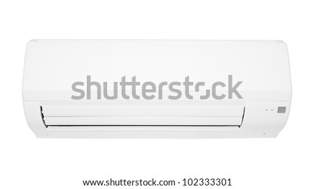 Air Conditioner for climate control, white color, modern design isolated on white background - stock photo