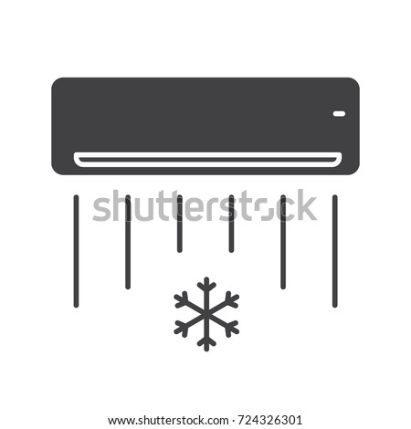 Air Conditioner Glyph Icon Silhouette Symbol Stock Illustration
