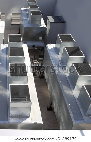 air conditioner industrial gray silver machine - stock photo