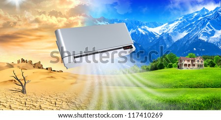 Air conditioner. Micro-climate of vital space. - stock photo