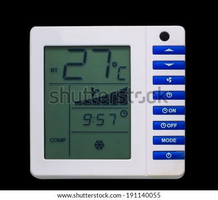 Air conditioner monitor control isolated on black background - stock photo