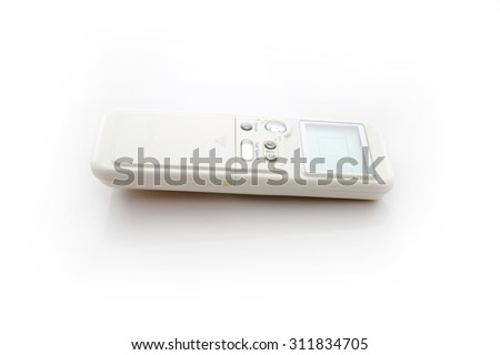 Air conditioner remote control isolated over white