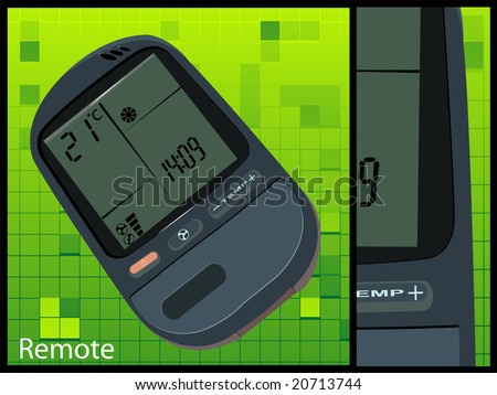 air conditioner remote on white background - stock photo