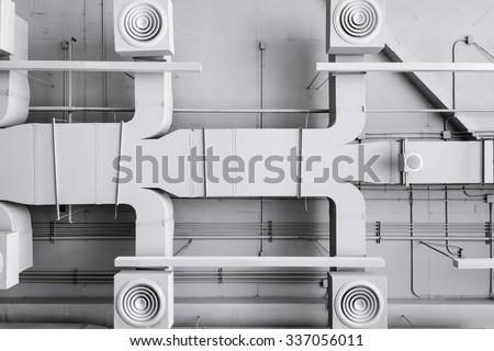 Air conditioner ventilation installation system in Building - stock photo