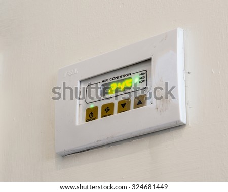 air conditioning control panel  indicated 24 degree C set point - stock photo