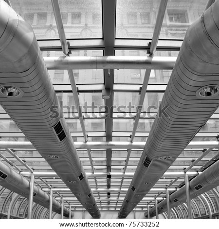 Air-conditioning ducts in a modern building, Melbourne, Australia - stock photo