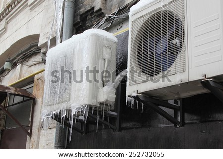 air conditioning icicles - stock photo