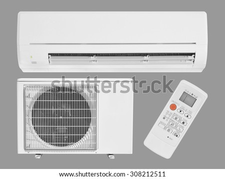 air conditioning isolated on gray - stock photo