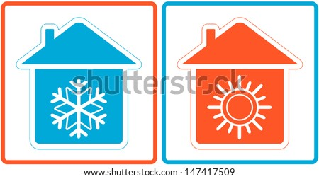 air conditioning symbol with warm and cold in home silhouette  - stock photo