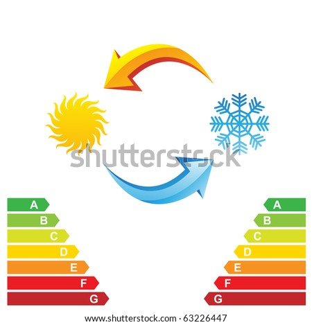 Air conditioning symbols and energy class chart isolated on a white background - stock photo