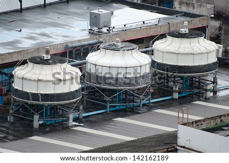 air conditioning systems on a roof - stock photo