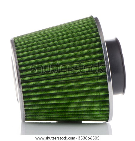 Air cone filter on white background. Vehicle Modification Accessories. - stock photo
