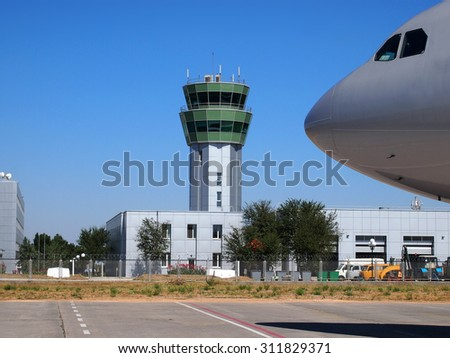 Air control tower in the airport of Simferopol morning light.