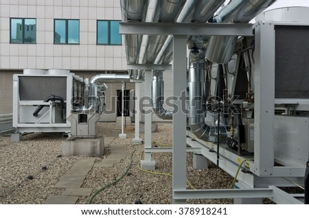 Air cooled water chillers - stock photo