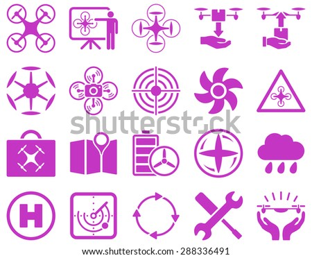 Air drone and quadcopter tool icons. Icon set style: flat glyph images, violet symbols, isolated on a white background.