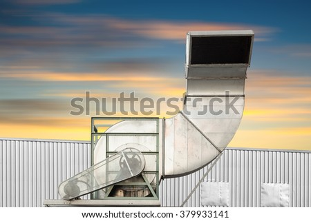Air duct and ventilation system of factory. - stock photo