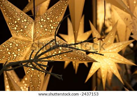 Air fixtures made of a paper parchment-celebratory ornament - stock photo