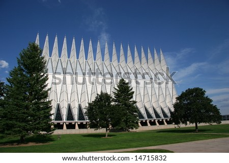 Air Force Academy Chapel, Colorado Springs - stock photo