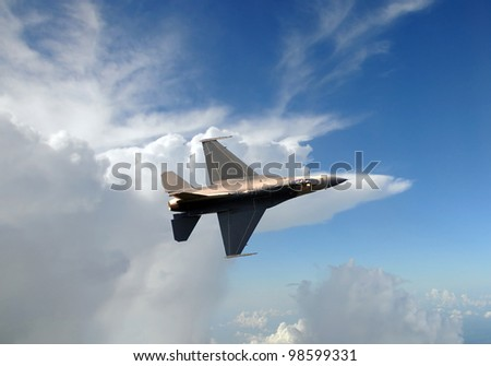 Air Force jet fighter at high altitude - stock photo