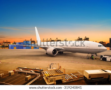 air freight and cargo plane loading trading goods in airport container parking lot use for shipping and air transport logistic industry - stock photo