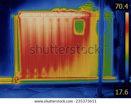 Air Gap in Radiator Heater Thermal Image - stock photo