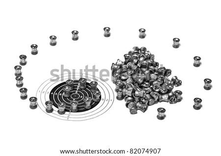 Air gun bullets following the target - stock photo