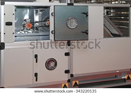 Air Handling Unit in Central Ventilation System - stock photo