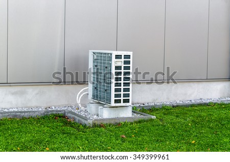 Air heat pump from an industrial building. The outdoor unit heat pump, air to air.