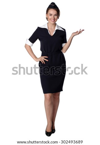Air hostess in blue uniform. Isolated on white
