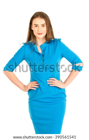 Air hostess in blue uniform. Isolated on white. - stock photo