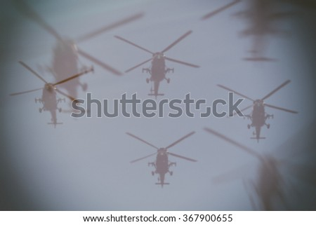 Air invasion concept, double exposure - stock photo