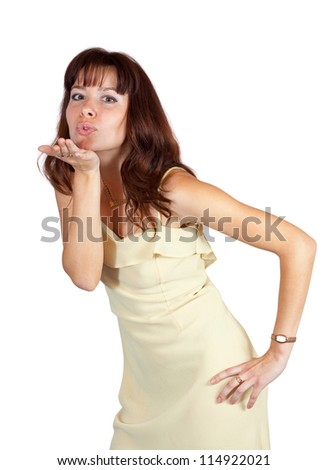Air-kissing  girl over white background - stock photo