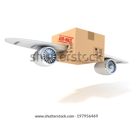 air mail 3d concept - cardboard box with wings and jet engines - stock photo