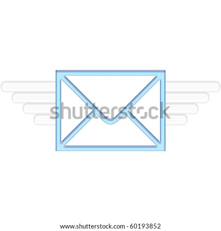 Air Mail delivery wings in blue color - stock photo